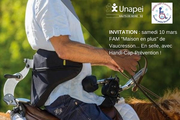 Invitation : samedi 10 mars FAM «Maison en plus» de Vaucresson… En selle, avec Handi-Cap-Prévention !