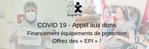 COVID 19 – Appel aux dons : soutenez l'Unapei 92… Offrez des «EPI» !