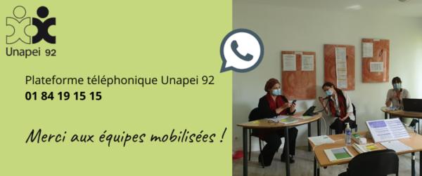COVID19 – Plateforme téléphonique Unapei 92 : MERCI aux équipes mobilisées !