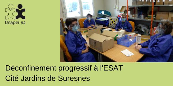 Déconfinement progressif à l'ESAT Cité Jardins Unapei 92 à Suresnes