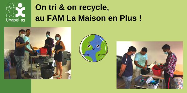 Recyclage, tri et environnement au FAM de Vaucresson