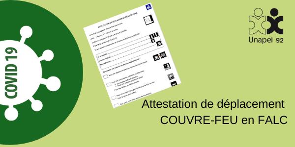 Couvre-feu 18H00 France métropolitaine – Attestation de déplacement dérogatoire