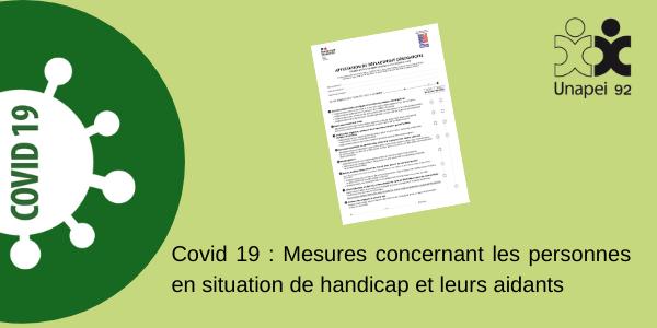 Covid 19 : Mesures concernant les personnes en situation de handicap et leurs aidants