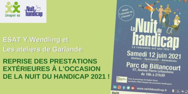 ESAT Yvonne Wendling et Les ateliers de Garlande:  Reprise des prestations extérieures à l'occasion de la Nuit du Handicap 2021 !