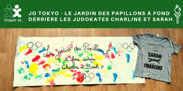 JO Tokyo – Le Jardin des Papillons à fond derrière les Judokates Charline et Sarah